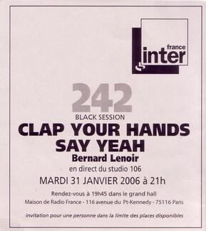 Le choix des lecteurs # 109 : Clap Your Hands Say Yeah - Black Session - Paris - 31 janvier 2006