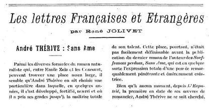 André Thérive, Sans âme (critique par René Jolivet)