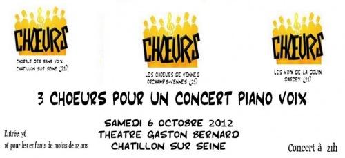 Concert Piano Voix, trois chorales au théâtre Gaston Bernard de Châtillon sur Seine...