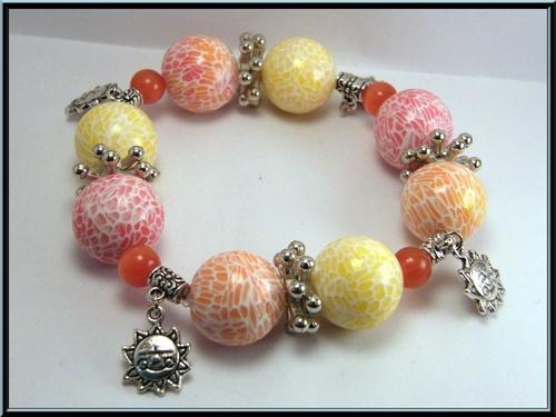 Bracelet élastique perle fimo effet mozaïque