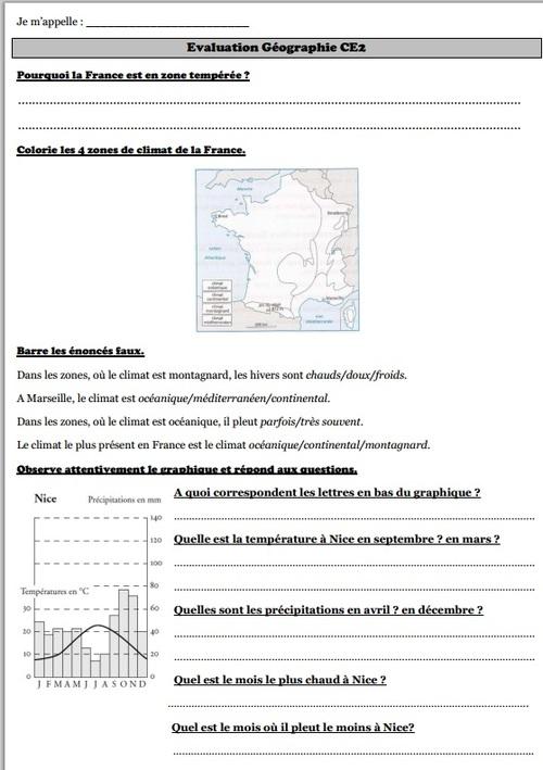 Evaluation Géographie CE2