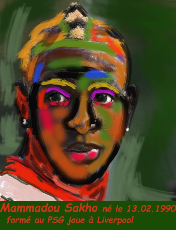 Peinture/Football/Mammadou Sakho/Fauvisme/né un 13 février