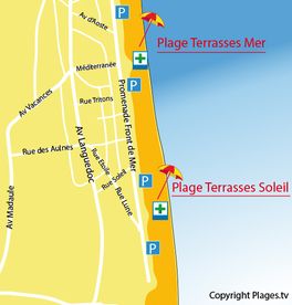Carte de la plage des Terrasses du Soleil à Narbonne-Plage