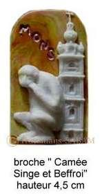 Objet artisanal Souvenir de Mons: Camée Singe et Beffroi - Arts et sculpture: sculpteur, artisan d'art