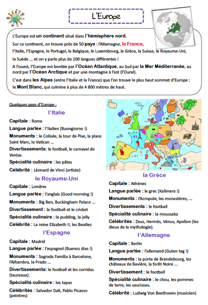 Carte Europe Ce1.L Europe La Caverne D Alisette