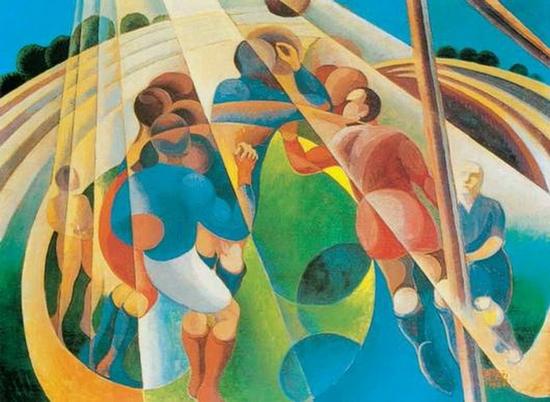 Gerardo Dottori, Partie de coups de pieds, 1928