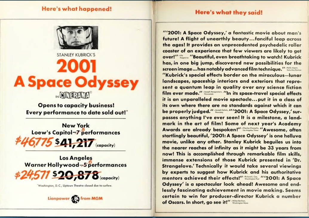 2001 A SPACE ODYSSEY box office usa 1968