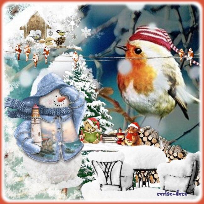 cadeau : un cluster oiseaux en hiver pour vos créations