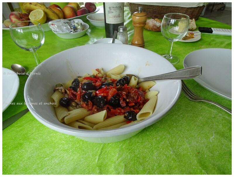 Pennes aux légumes et anchois