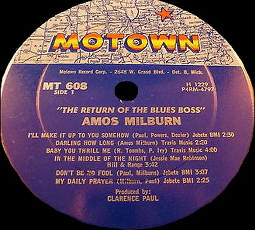 "Amos Milburn : Album "" The Return Of ""The"" Blues Boss "" Motown Records MT 608 [ US ]"