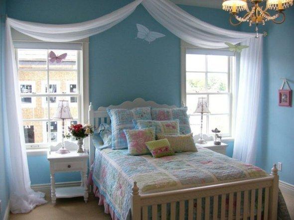 chambre de petite fille bleu