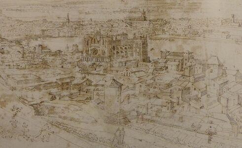 Gravure sépia montrant une cathédrale entourée de maisons.