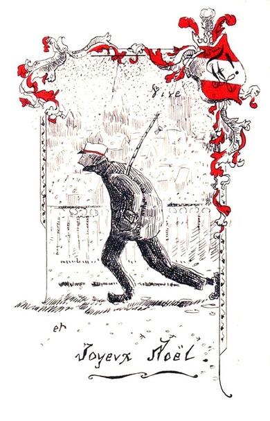 Noël 1917 (carte postale d'étudiants de l'Université de Lausanne. Illustration selon le procédé de thermogravure)