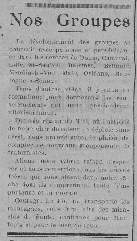Nos Groupes Fraternistes (Le Fraterniste, 1er décembre 1923)