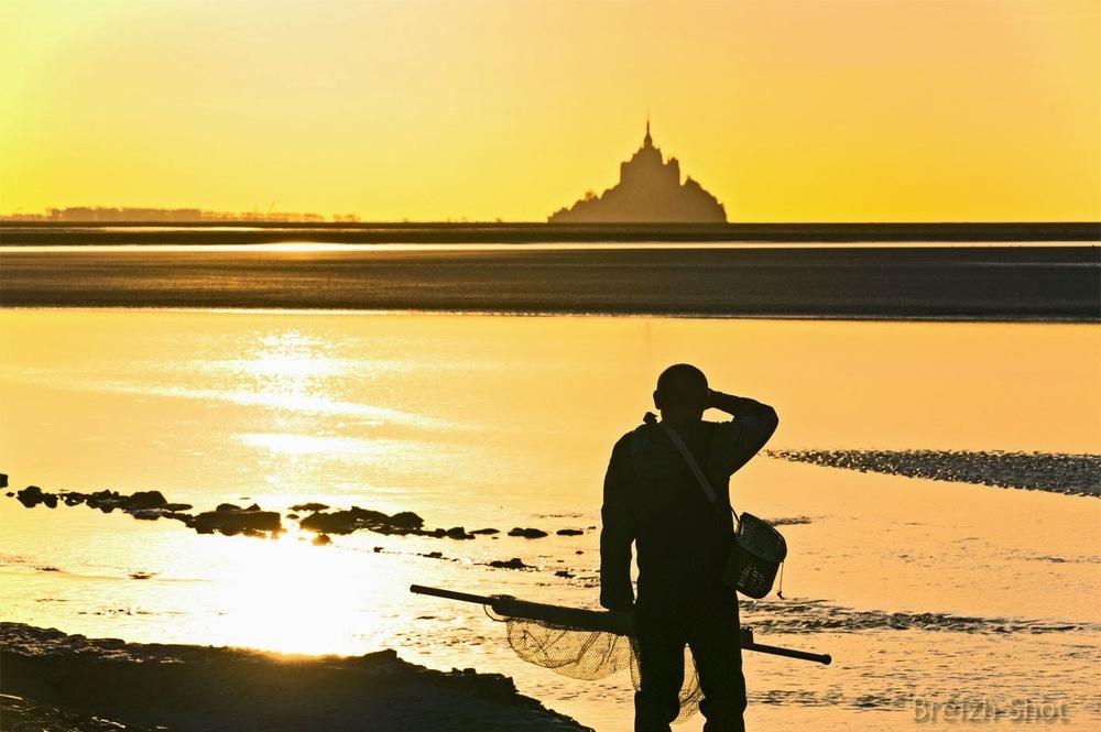 mont-saint-michel- mascaret - coucher de soleil