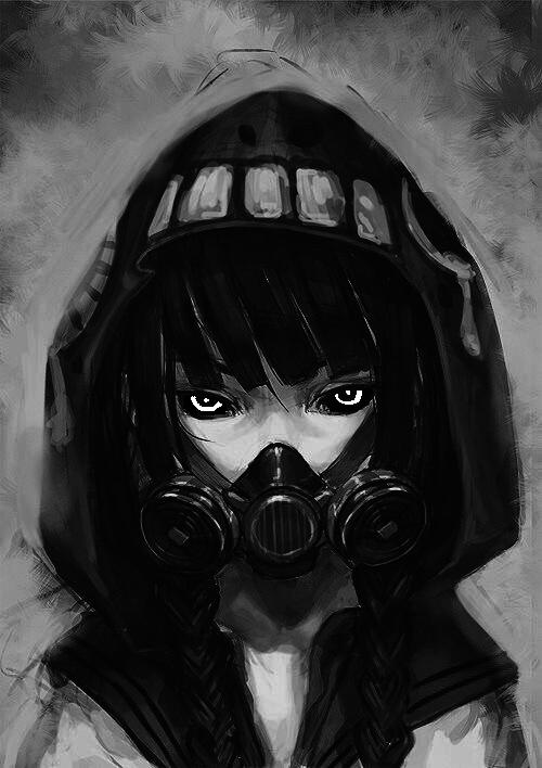 Image de anime, girl, and gas mask