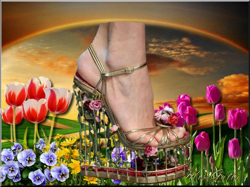 Défi pour Monique (Manik) Le pied en fleurs