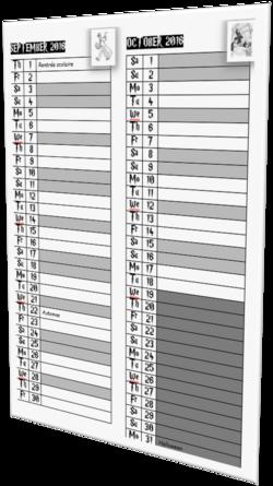 Un calendrier vertical avec décor HARRY POTTER