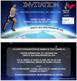 samedi 23 avril 2016 : Meeting international Handisport