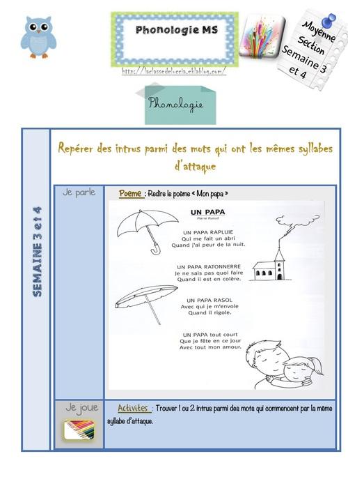 PHONOLOGIE MS Semaine 3 et 4