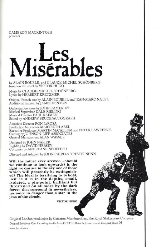 Les Miserables - Toronto - Brochure - 1998
