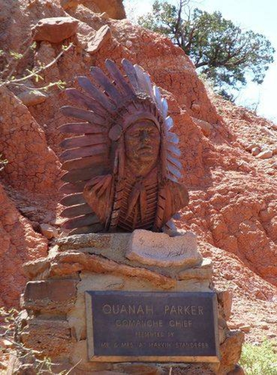 bust of Chief Quanah Parker in Palo Duro Canyon State Park Texas