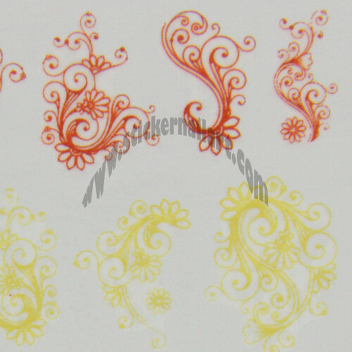 Water decal fleur jaune orange