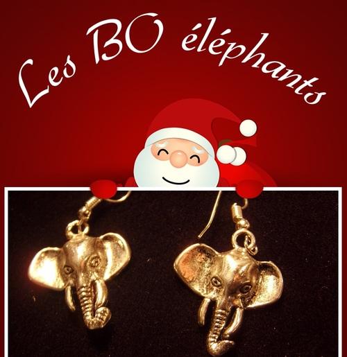 boucles d'oreilles éléphants pour noël sylvie le brigant
