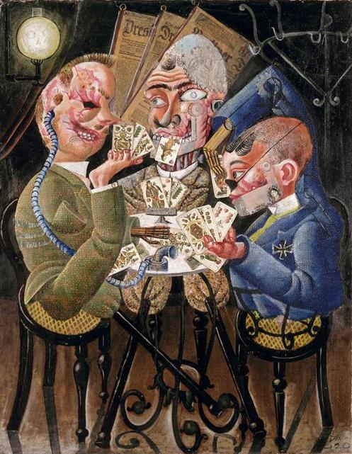 Les joueurs de cartes Otto Dix 1920 Huile sur toile et collage, 110 x 87 cm