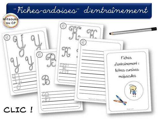 """""""Fiches-ardoises"""" des majuscules cursives"""