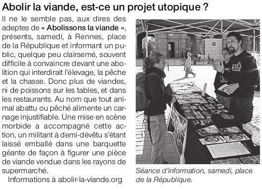 Ouest France abolition de la viande Rennes 2010