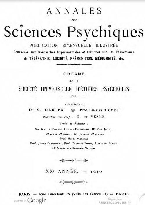 Annales des Sciences psychiques (1910)