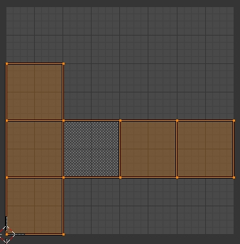 Le cube déplié dans l'écran du UV/Image Editor