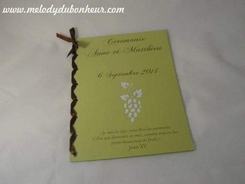 Livret de messe thème vin