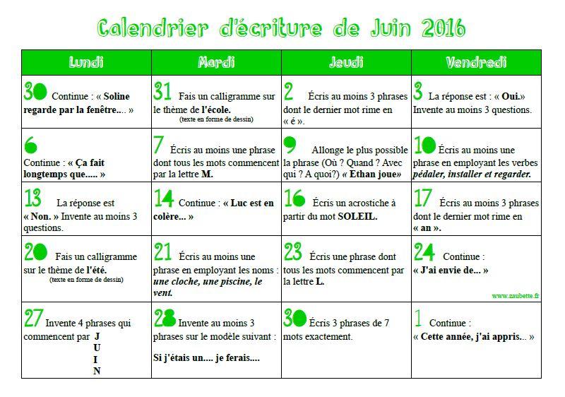 Calendrier d'écriture du mois de juin - CE1