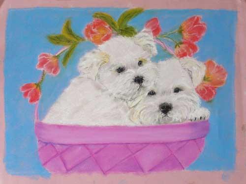 Chien blanc dans un petit panier rose, pastel