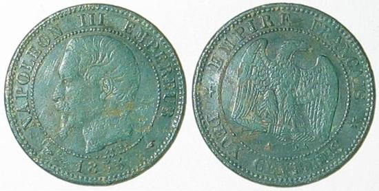 DEUX CENTIMES NAPOLEON III 1855 tête nue