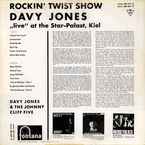 "1964 : Album "" Rockin' Twist Show "" Fontana Records 885.409 TY [ UK ]"