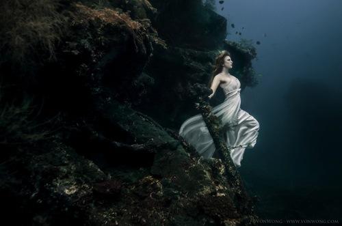 dans une épave sous-marine -