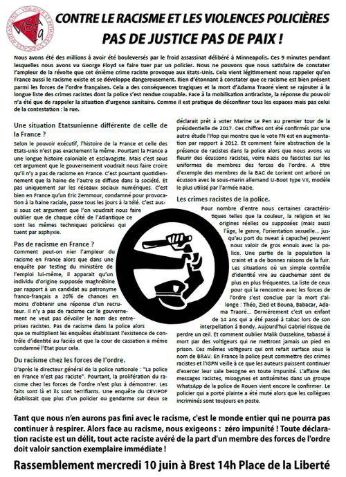 Rassemblement contre le racisme et les violences policières - mercredi 10 juin 2020- Brest