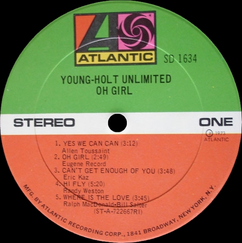 "The Young-Holt Unlimited : Album "" Oh Girl "" Atlantic Records SD-1634 [ US ]"