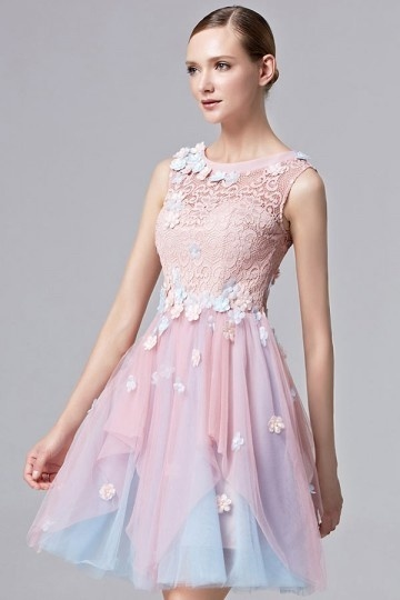 Robe courte fleurie rose & bleu vintage col rond