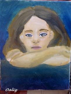 [ Huile sur toile ] Enfant au bras croisés