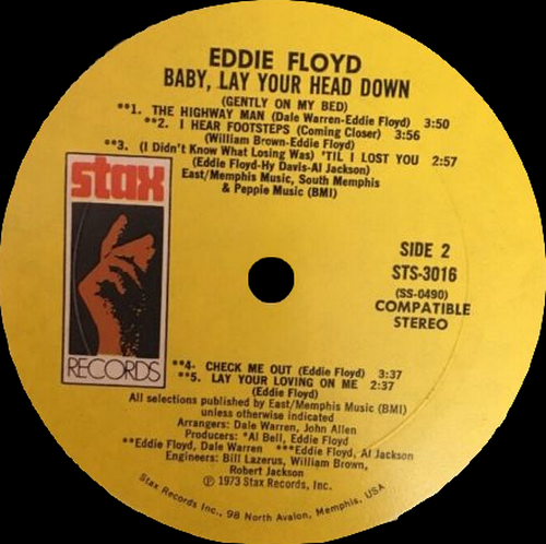 "Eddie Floyd ‎: Album "" Baby Lay Your Head Down (Gently On My Bed) "" Stax Records STS-3016 [ US ]"