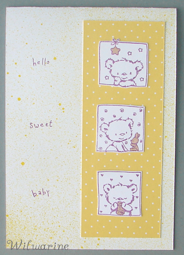 carte naissance jaune nounours