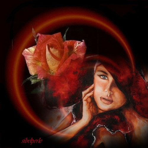 femme et rose