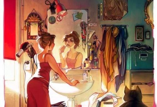 femme-se-preparant