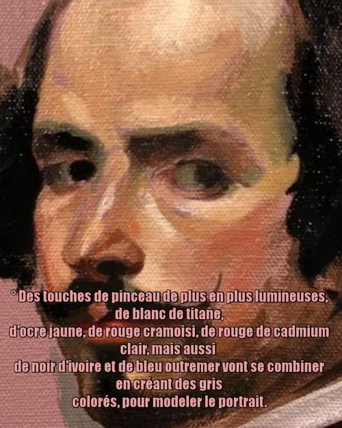 Dessin et peinture - vidéo 3546 : Une technique pour peindre un portrait de Diego Vélasquez - huile ou acrylique.