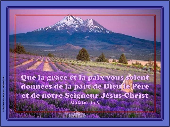 Que Dieu notre Père et le Seigneur Jésus-Christ vous accordent la grâce et la paix - Galates 1 : 3