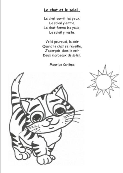 Poème CP période 3 - Le chat et le soleil
